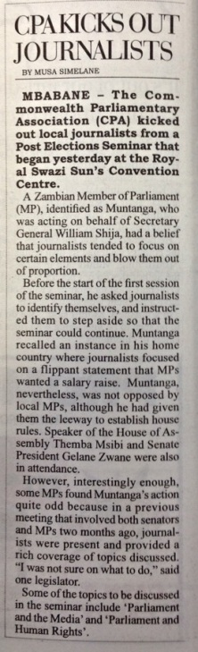 Times of Swaziland, page 4, Sept 4 2014